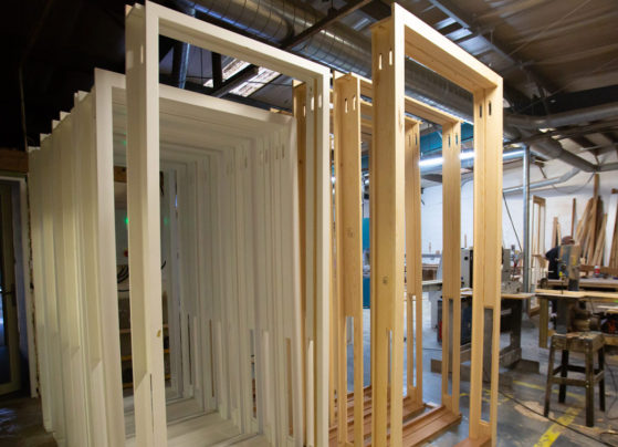 wooden windows in factory